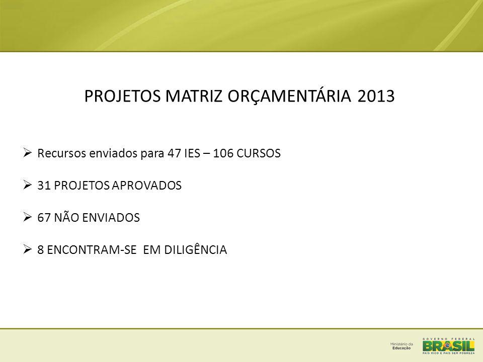 PROJETOS MATRIZ ORÇAMENTÁRIA 2013