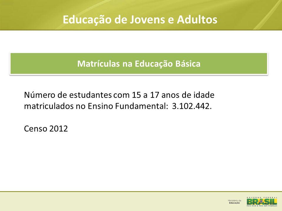 Educação de Jovens e Adultos Matrículas na Educação Básica