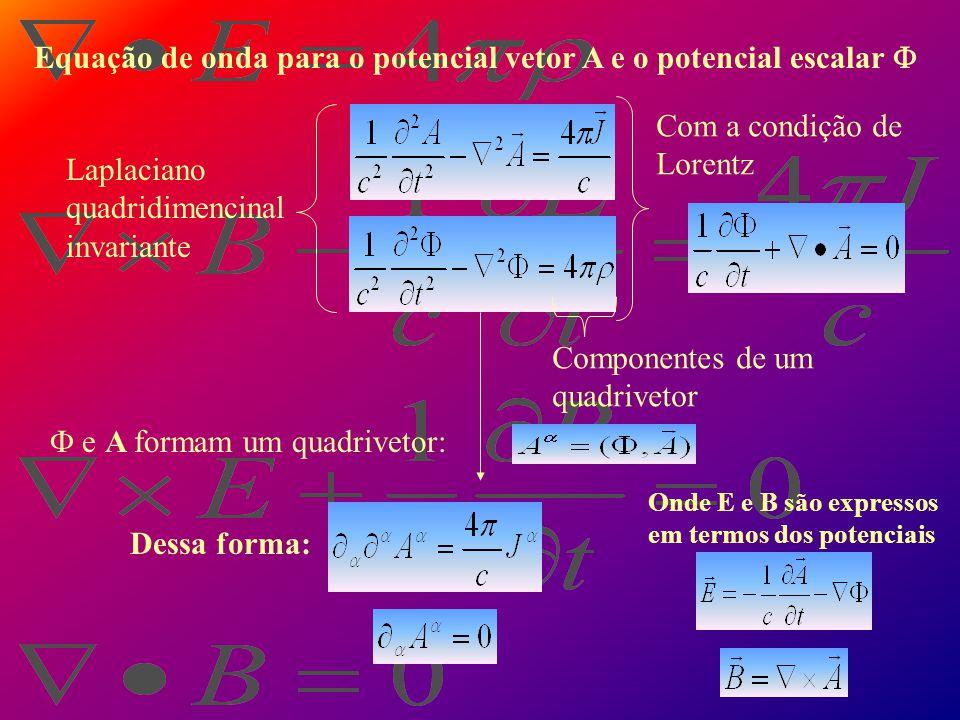 Equação de onda para o potencial vetor A e o potencial escalar 