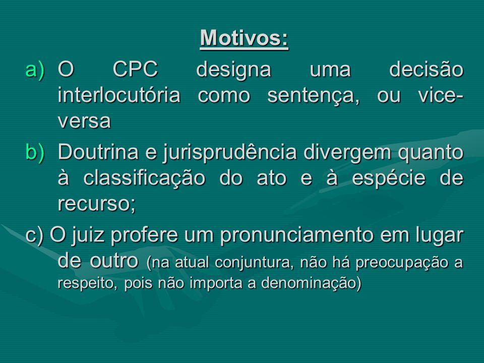 Motivos: O CPC designa uma decisão interlocutória como sentença, ou vice-versa.