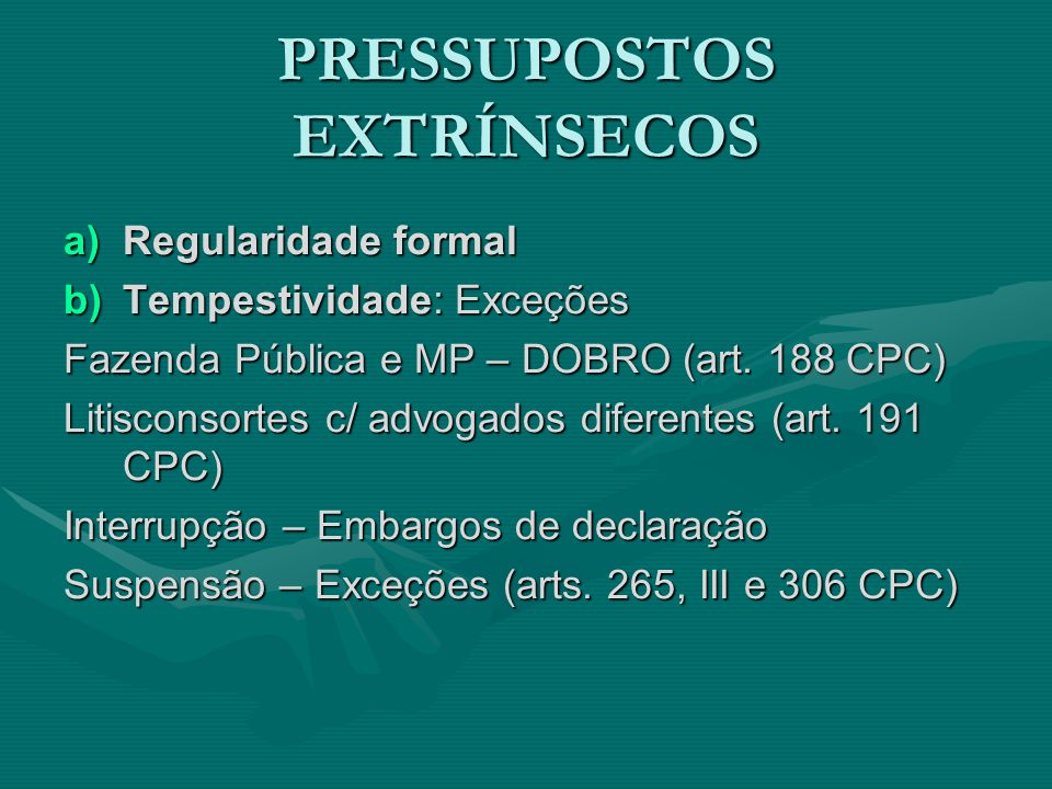 PRESSUPOSTOS EXTRÍNSECOS