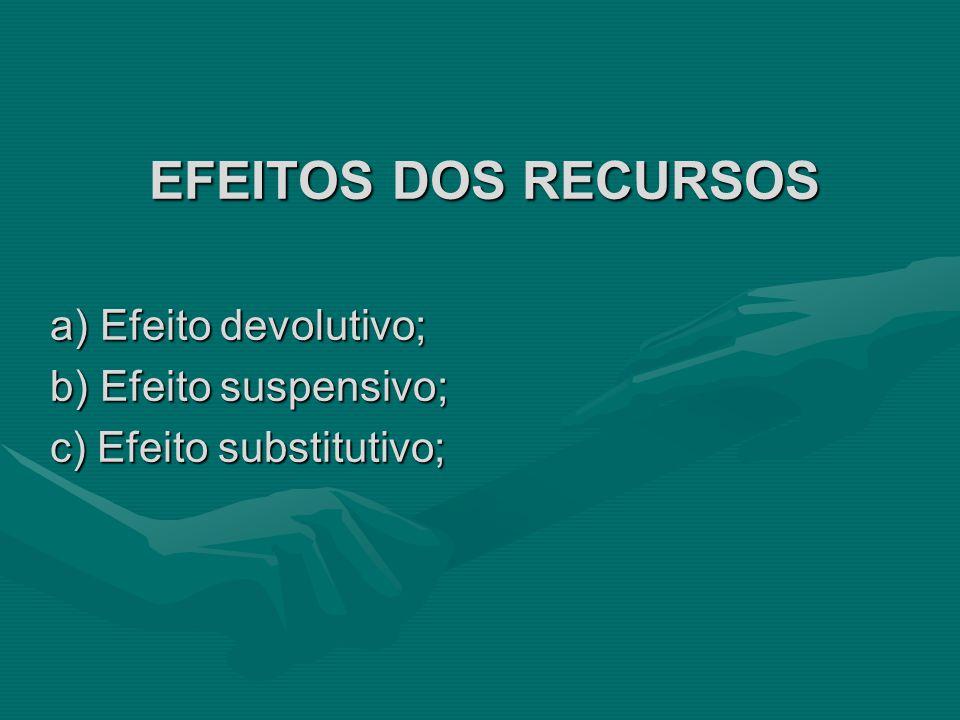 EFEITOS DOS RECURSOS a) Efeito devolutivo; b) Efeito suspensivo;