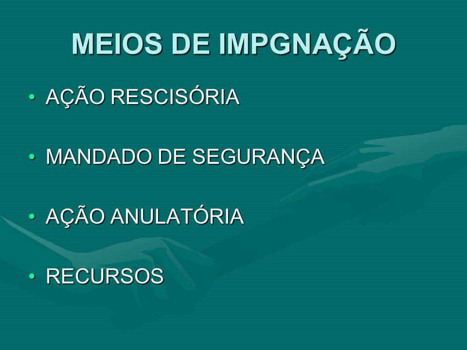 MEIOS DE IMPGNAÇÃO AÇÃO RESCISÓRIA MANDADO DE SEGURANÇA