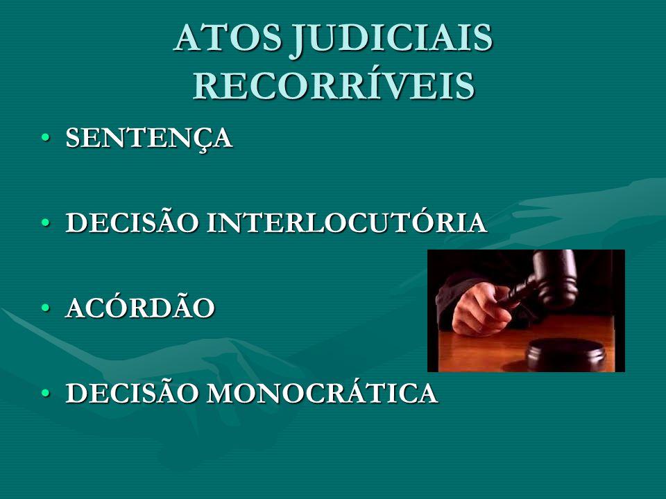 ATOS JUDICIAIS RECORRÍVEIS