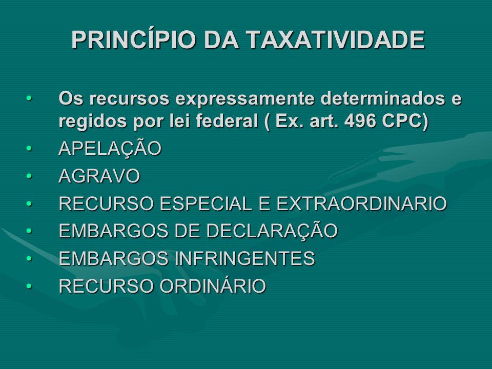 PRINCÍPIO DA TAXATIVIDADE