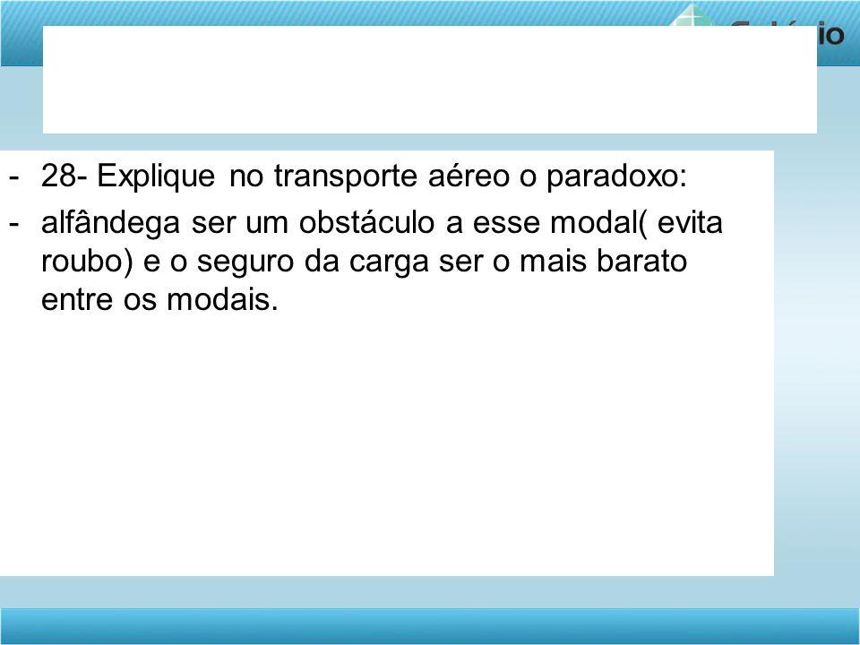28- Explique no transporte aéreo o paradoxo: