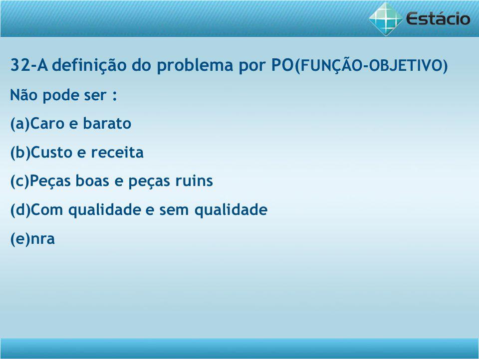 32-A definição do problema por PO(FUNÇÃO-OBJETIVO)
