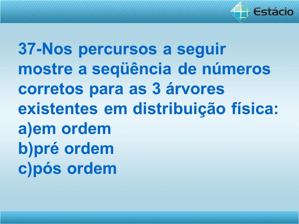 37-Nos percursos a seguir mostre a seqüência de números corretos para as 3 árvores existentes em distribuição física: a)em ordem b)pré ordem c)pós ordem