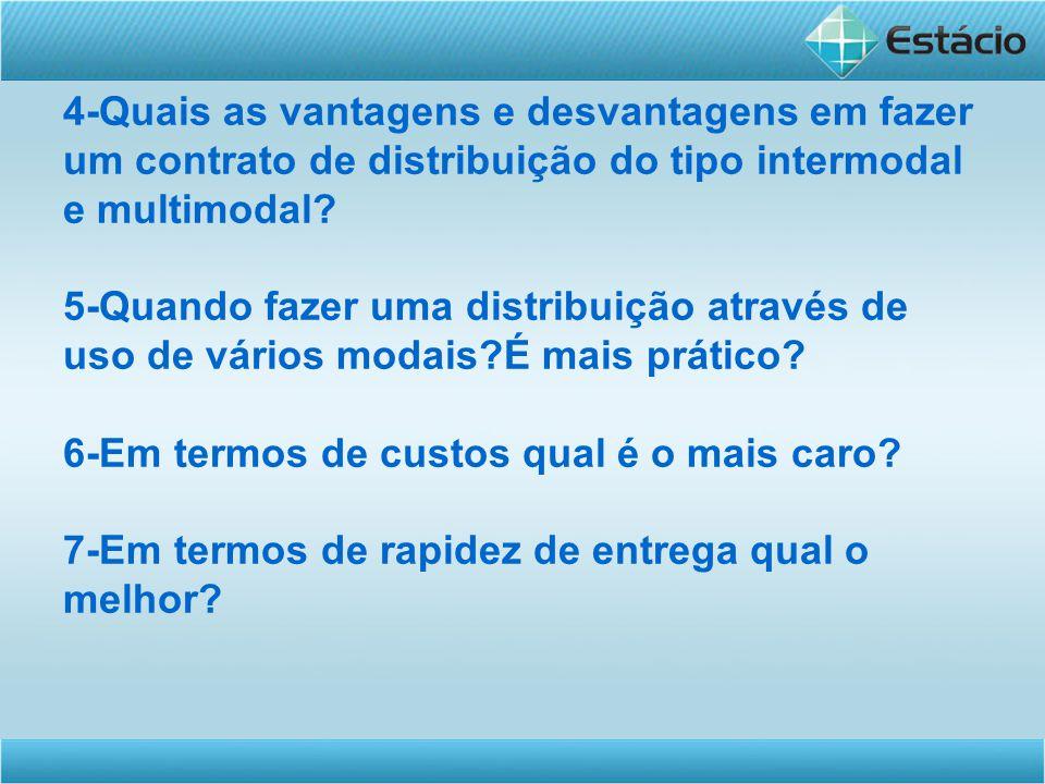 4-Quais as vantagens e desvantagens em fazer um contrato de distribuição do tipo intermodal e multimodal.