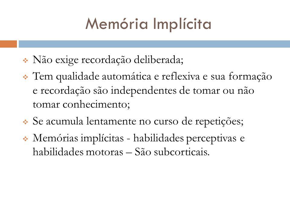 Memória Implícita Não exige recordação deliberada;
