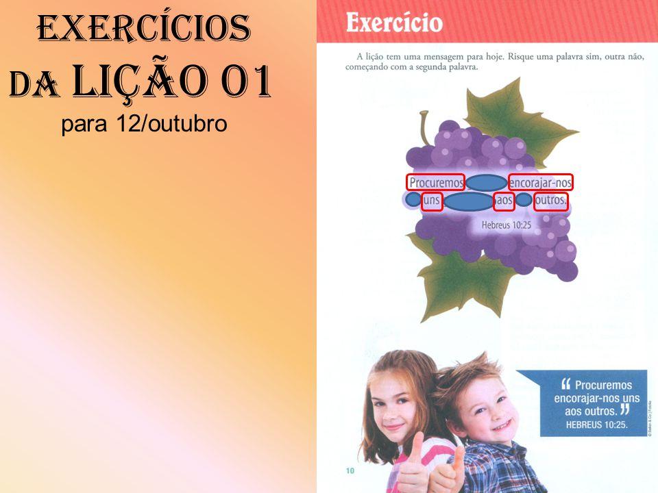 Exercícios da Lição 01 para 12/outubro