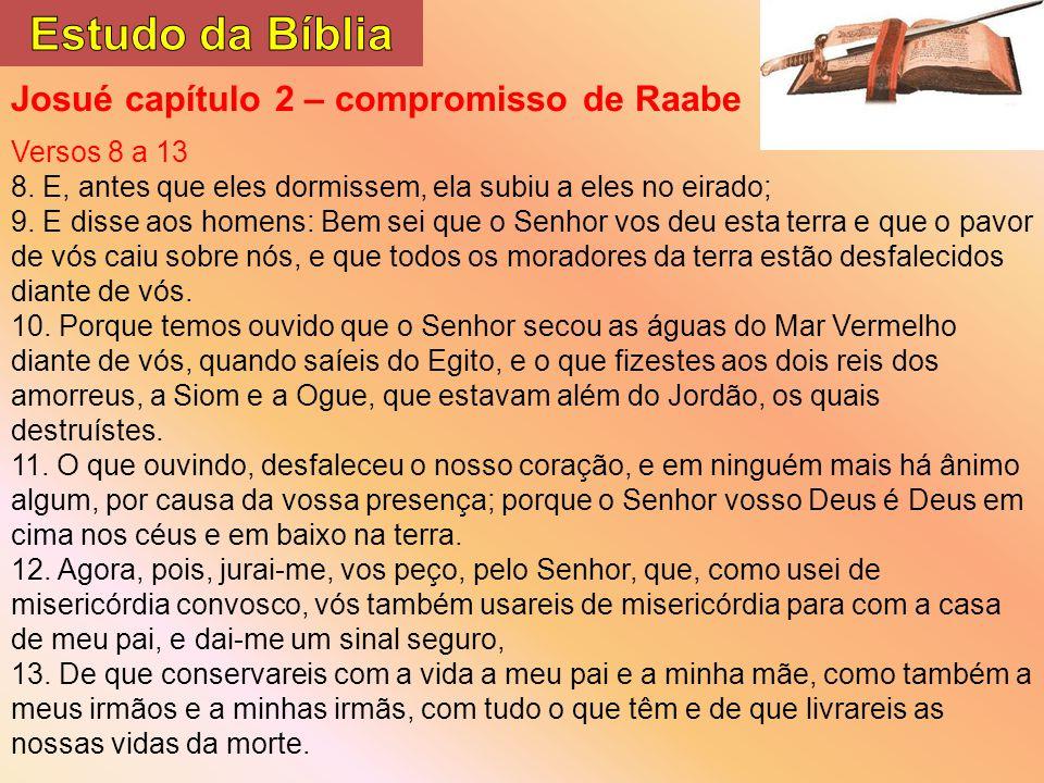 Estudo da Bíblia Josué capítulo 2 – compromisso de Raabe Versos 8 a 13