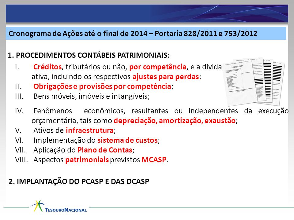 Cronograma de Ações até o final de 2014 – Portaria 828/2011 e 753/2012
