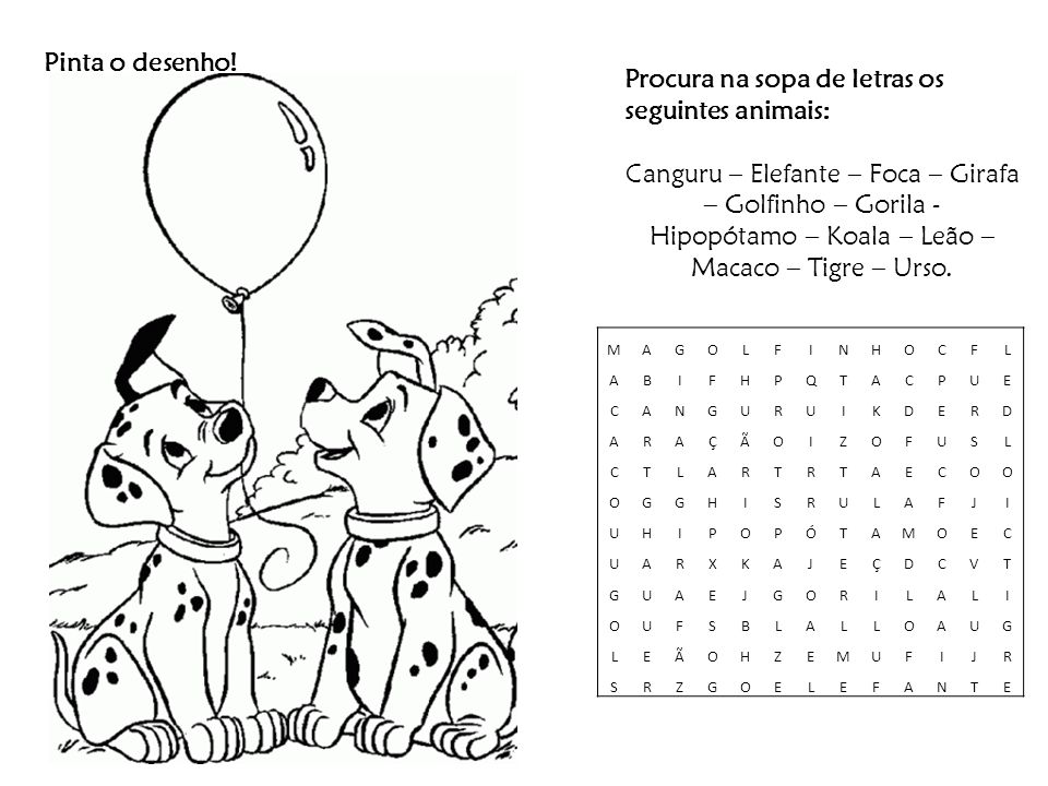 Procura na sopa de letras os seguintes animais: