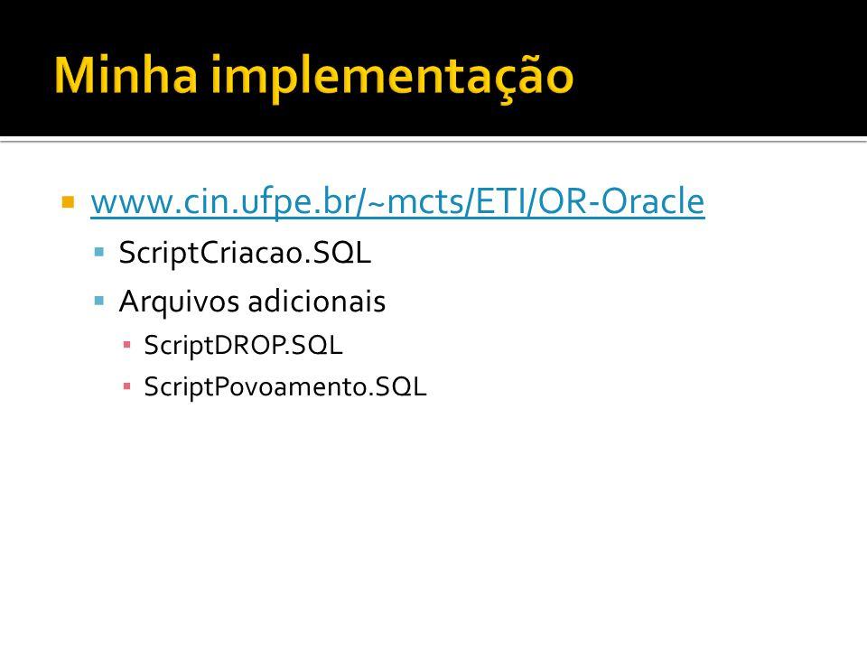 Minha implementação www.cin.ufpe.br/~mcts/ETI/OR-Oracle