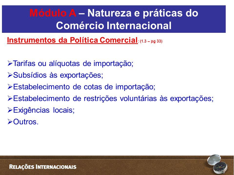 Módulo A – Natureza e práticas do Comércio Internacional