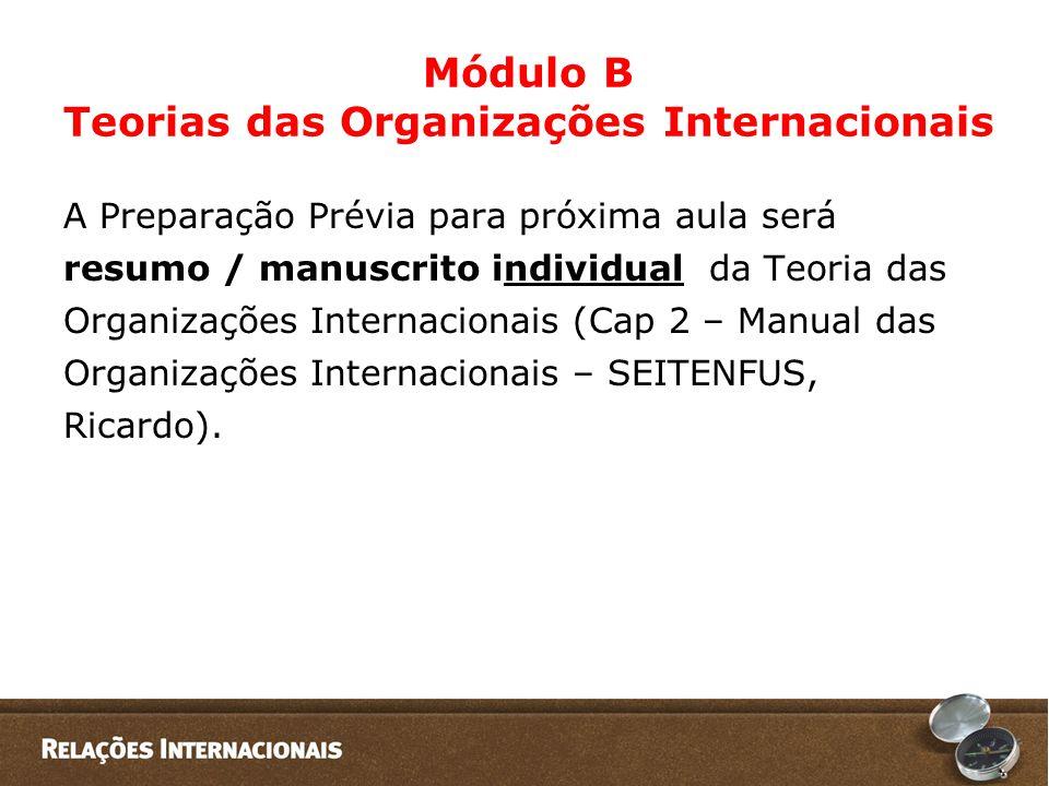 Módulo B Teorias das Organizações Internacionais