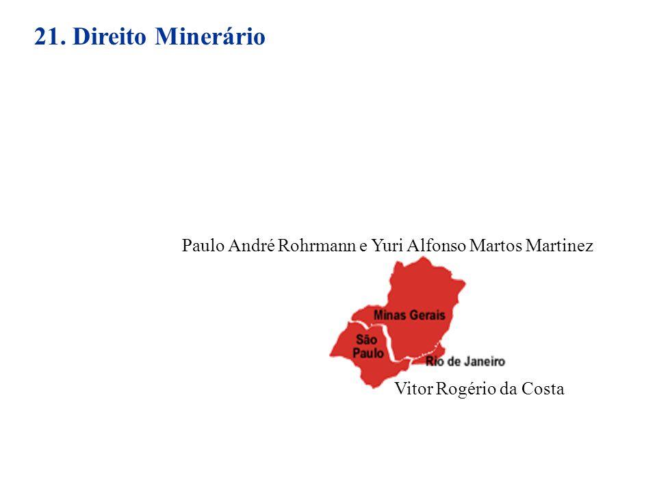 21. Direito Minerário Paulo André Rohrmann e Yuri Alfonso Martos Martinez Vitor Rogério da Costa