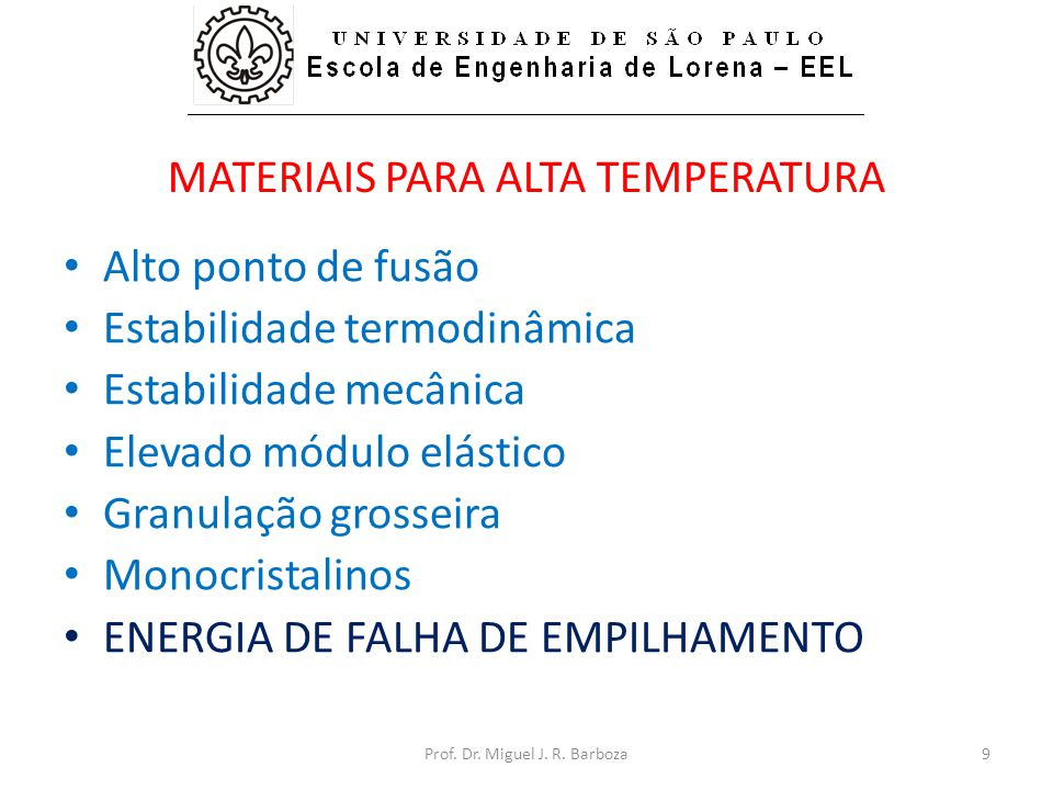 MATERIAIS PARA ALTA TEMPERATURA