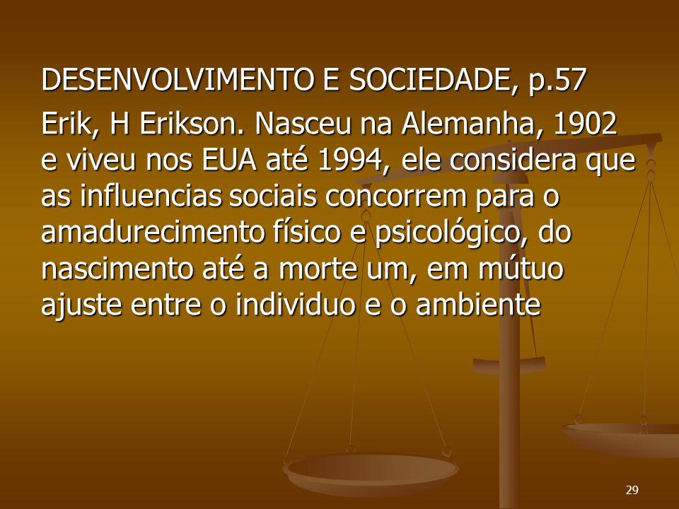 DESENVOLVIMENTO E SOCIEDADE, p. 57 Erik, H Erikson