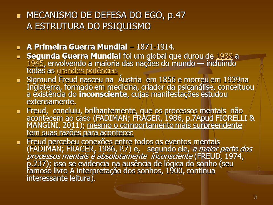 MECANISMO DE DEFESA DO EGO, p.47 A ESTRUTURA DO PSIQUISMO