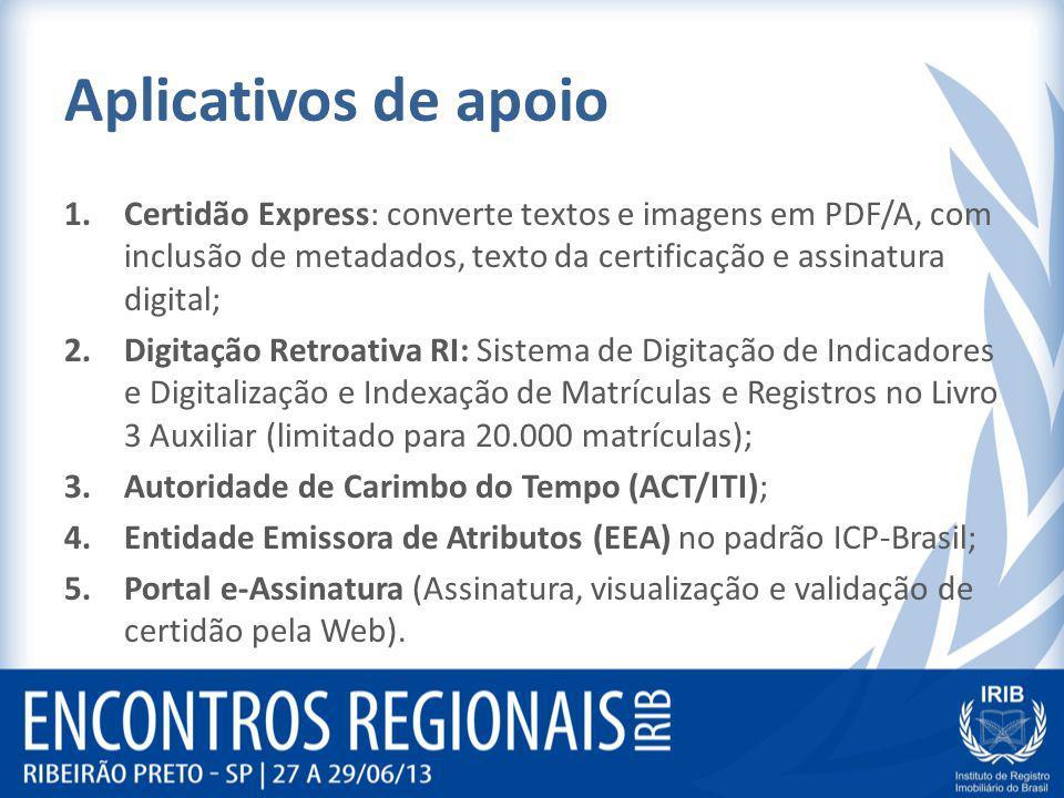 Aplicativos de apoio Certidão Express: converte textos e imagens em PDF/A, com inclusão de metadados, texto da certificação e assinatura digital;