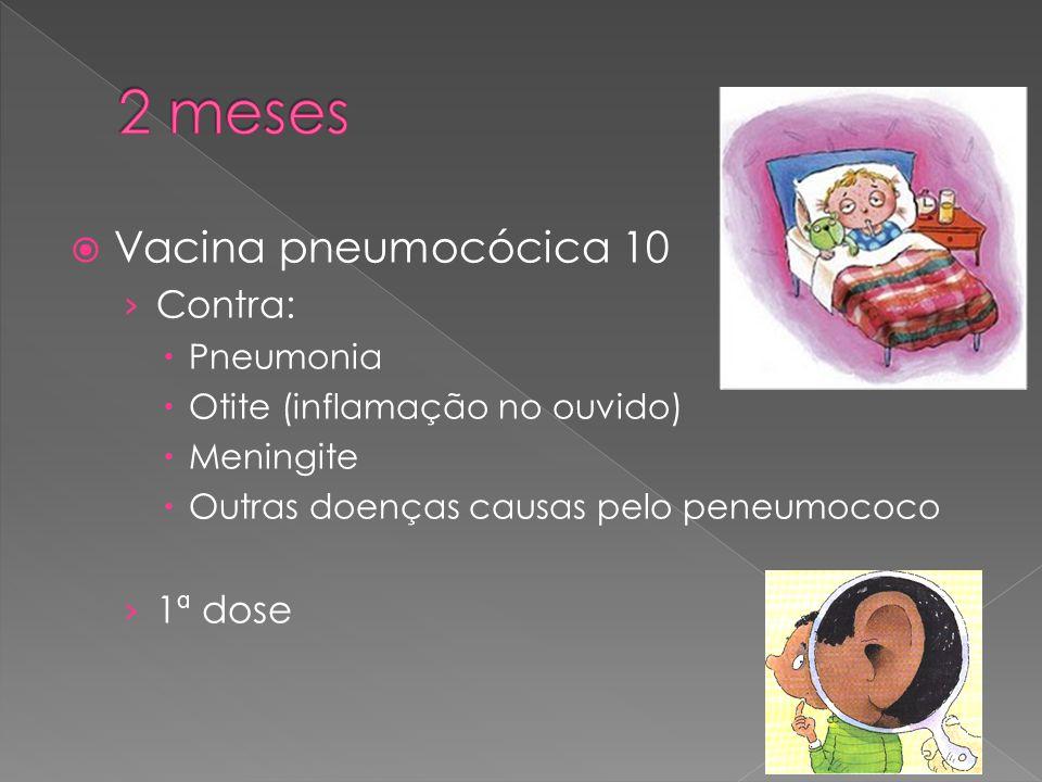 2 meses Vacina pneumocócica 10 Contra: 1ª dose Pneumonia
