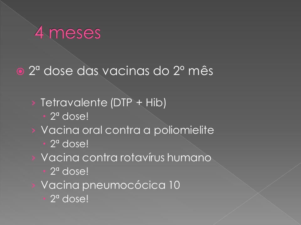 4 meses 2ª dose das vacinas do 2º mês Tetravalente (DTP + Hib)