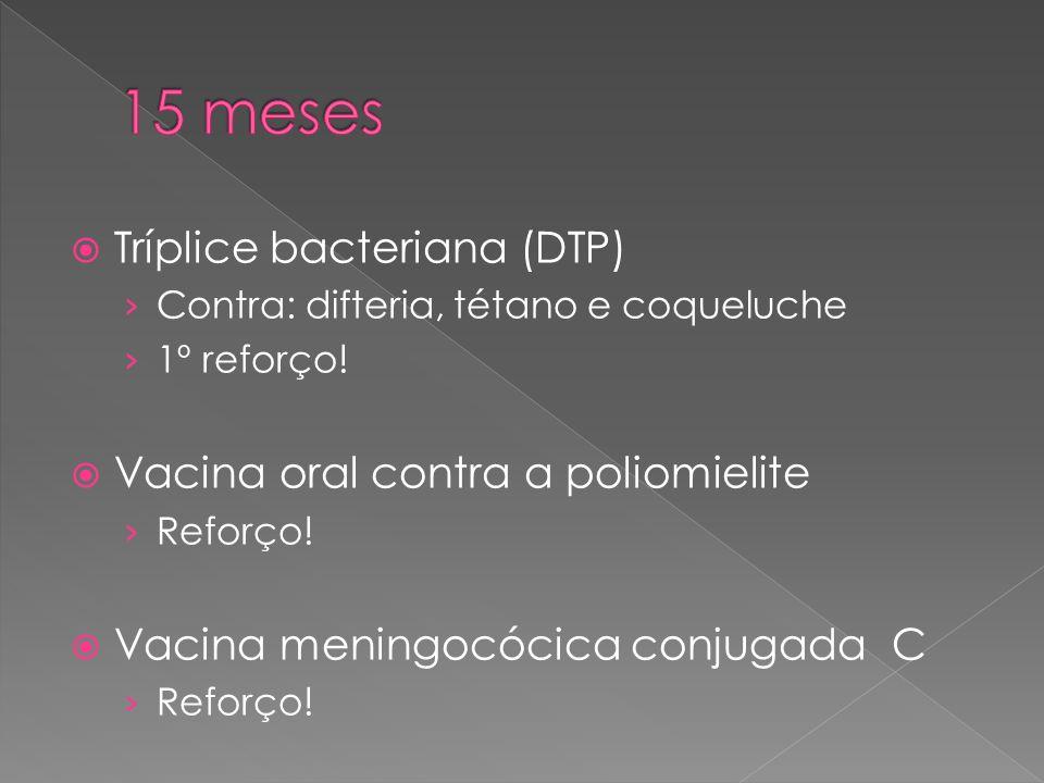 15 meses Tríplice bacteriana (DTP) Vacina oral contra a poliomielite