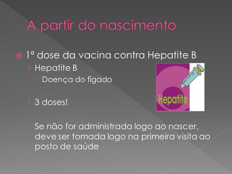 A partir do nascimento 1ª dose da vacina contra Hepatite B Hepatite B