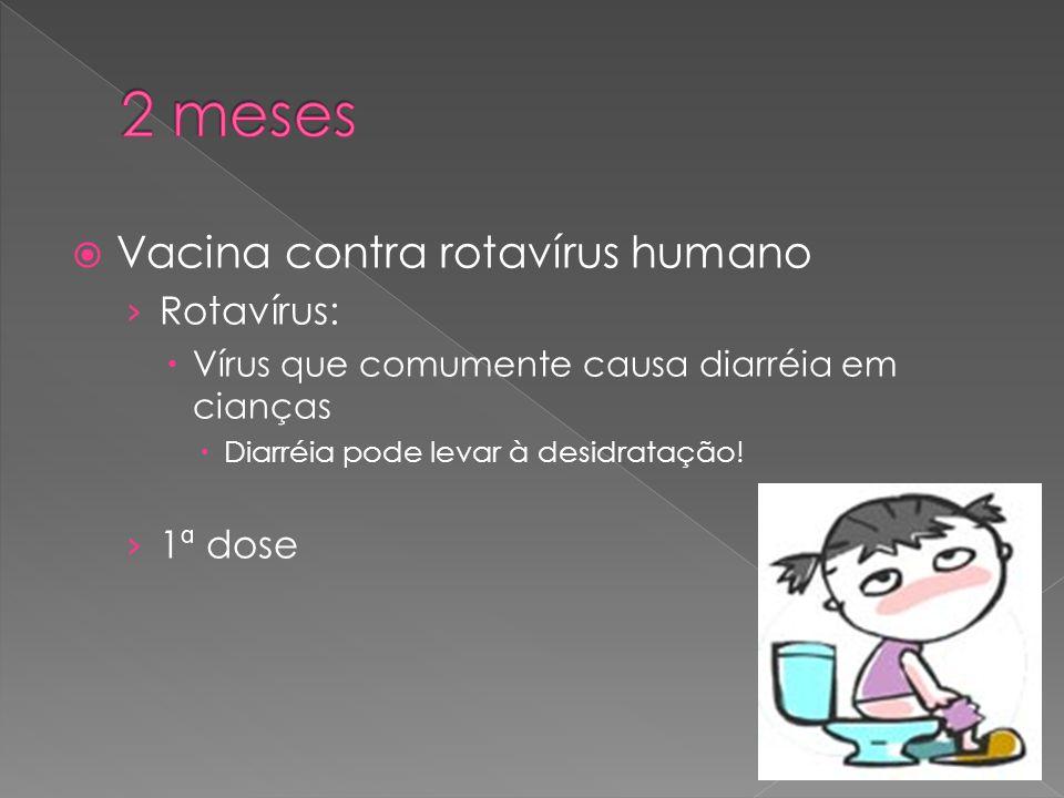 2 meses Vacina contra rotavírus humano Rotavírus: 1ª dose