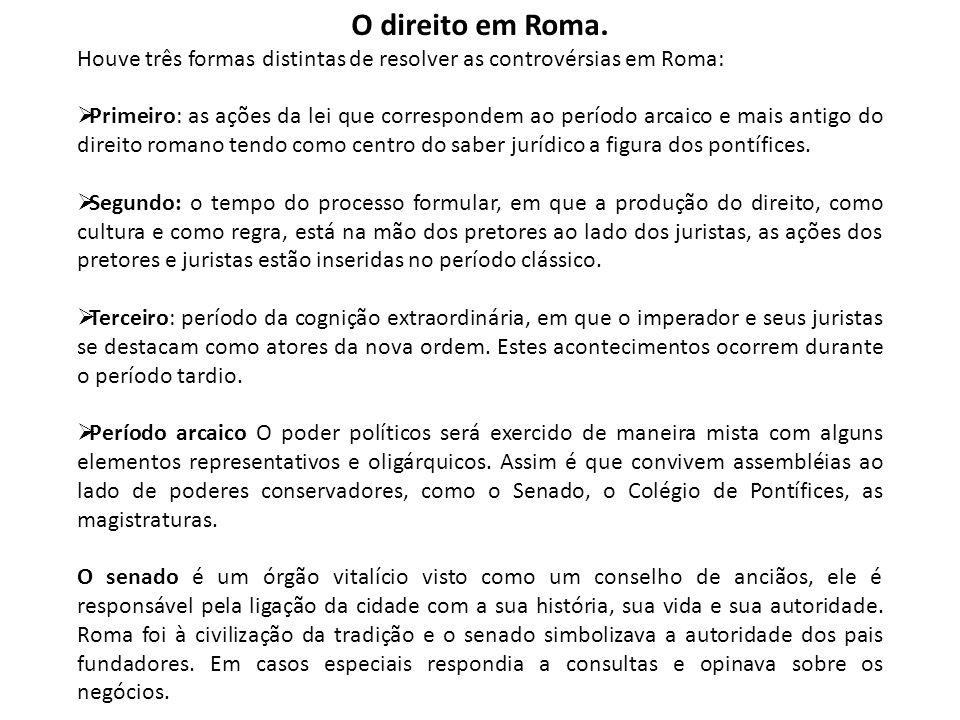 O direito em Roma. Houve três formas distintas de resolver as controvérsias em Roma: