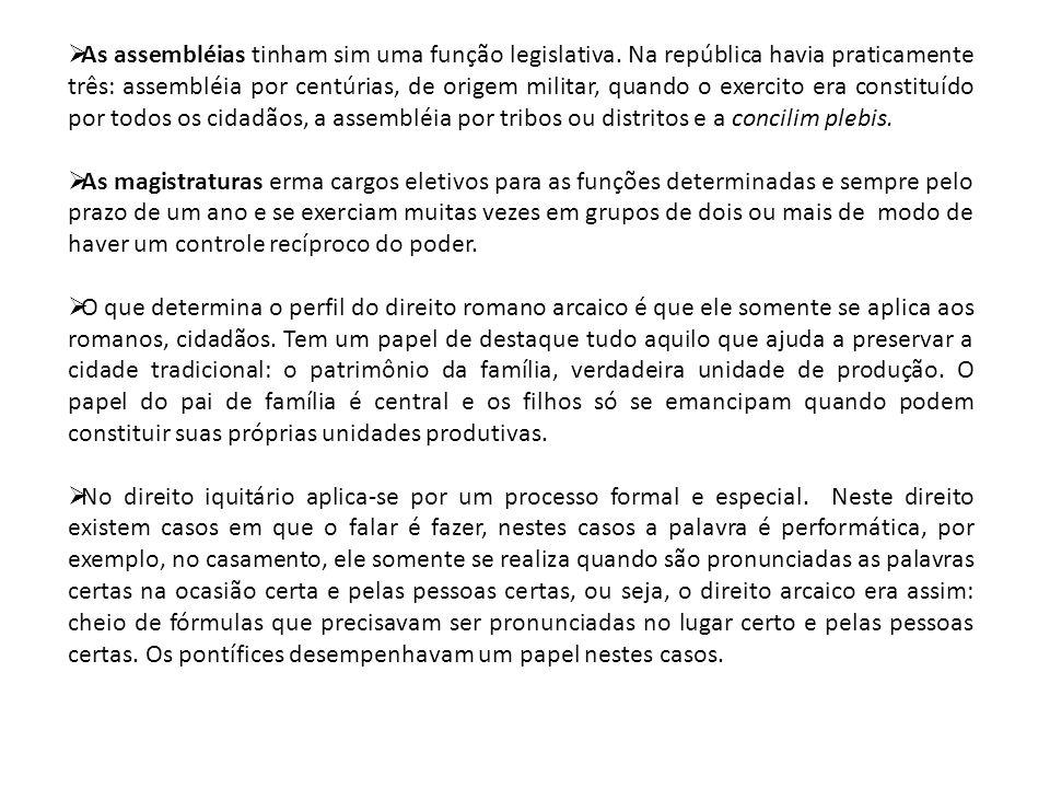 As assembléias tinham sim uma função legislativa
