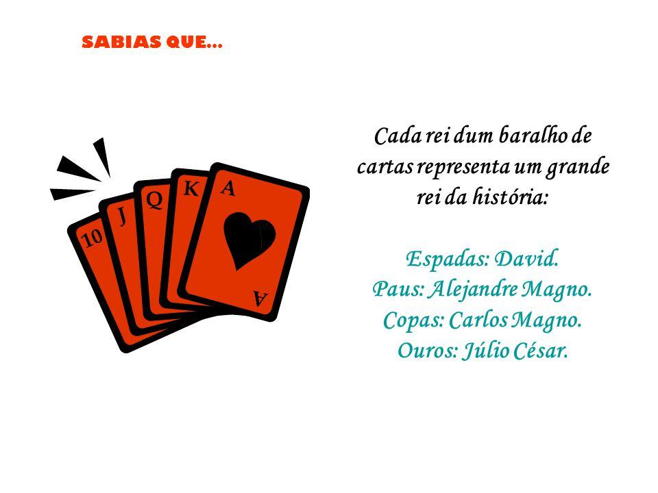Cada rei dum baralho de cartas representa um grande