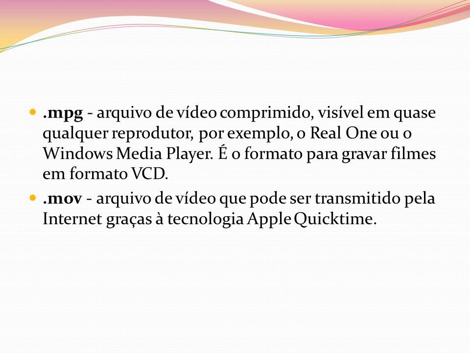 .mpg - arquivo de vídeo comprimido, visível em quase qualquer reprodutor, por exemplo, o Real One ou o Windows Media Player. É o formato para gravar filmes em formato VCD.