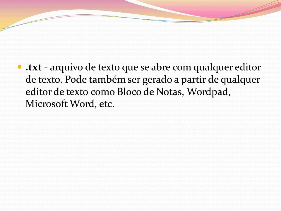 txt - arquivo de texto que se abre com qualquer editor de texto