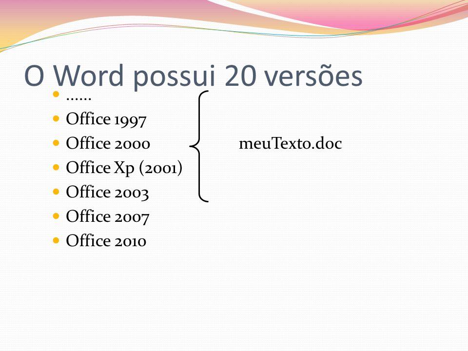 O Word possui 20 versões ...... Office 1997 Office 2000 meuTexto.doc