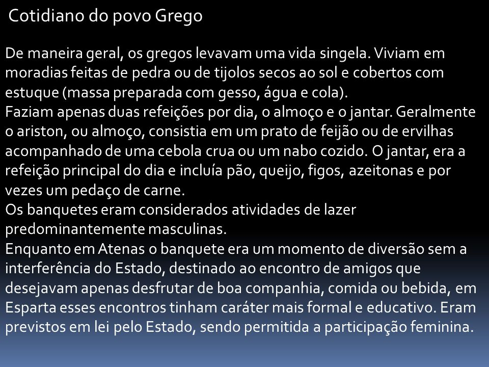 Cotidiano do povo Grego