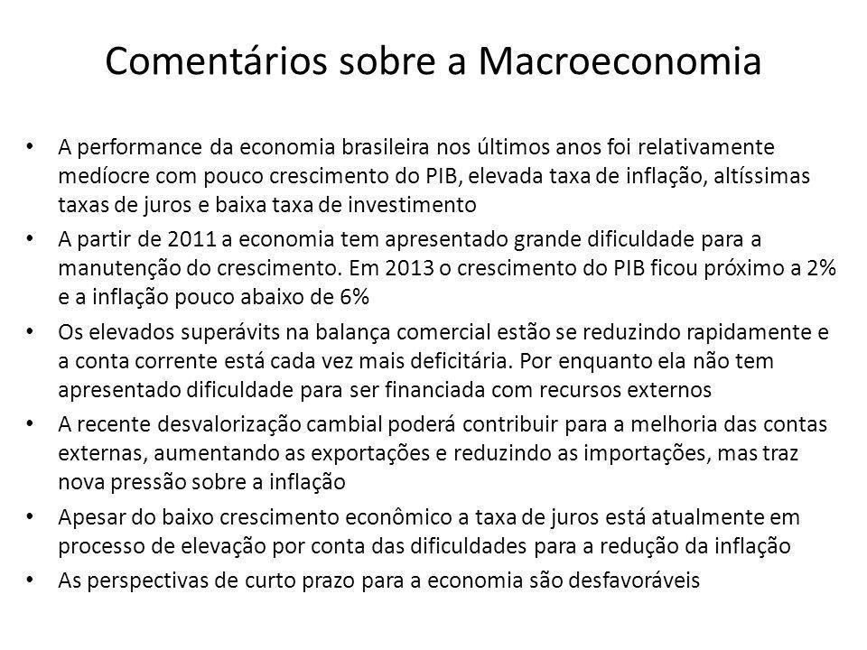 Comentários sobre a Macroeconomia