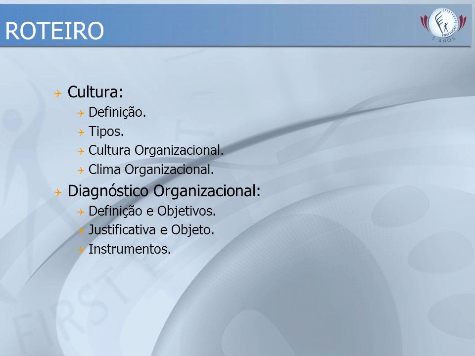 ROTEIRO Cultura: Diagnóstico Organizacional: Definição. Tipos.
