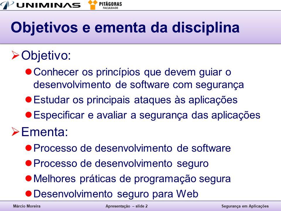 Objetivos e ementa da disciplina