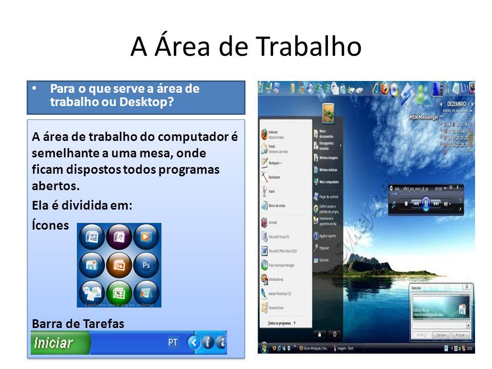A Área de Trabalho Para o que serve a área de trabalho ou Desktop
