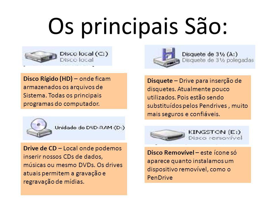 Os principais São: Disco Rígido (HD) – onde ficam armazenados os arquivos de Sistema. Todas os principais programas do computador.