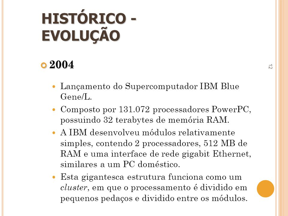 HISTÓRICO - EVOLUÇÃO 2004. Lançamento do Supercomputador IBM Blue Gene/L.