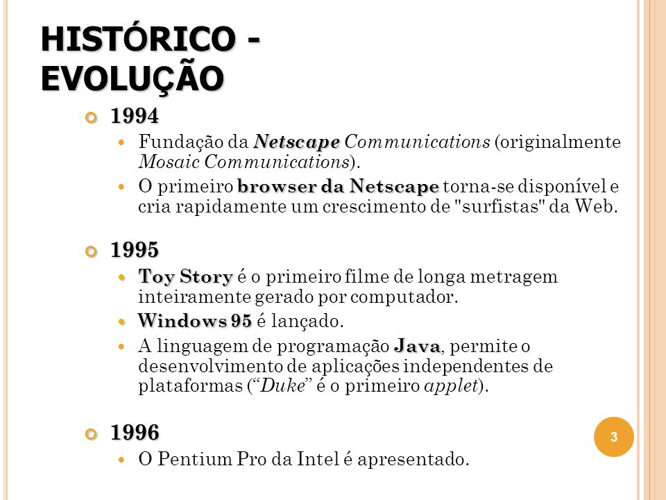 HISTÓRICO - EVOLUÇÃO 1994. Fundação da Netscape Communications (originalmente Mosaic Communications).
