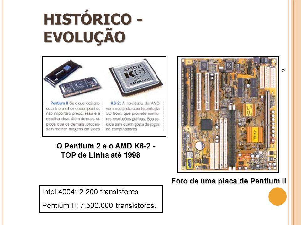 HISTÓRICO - EVOLUÇÃO O Pentium 2 e o AMD K6-2 - TOP de Linha até 1998