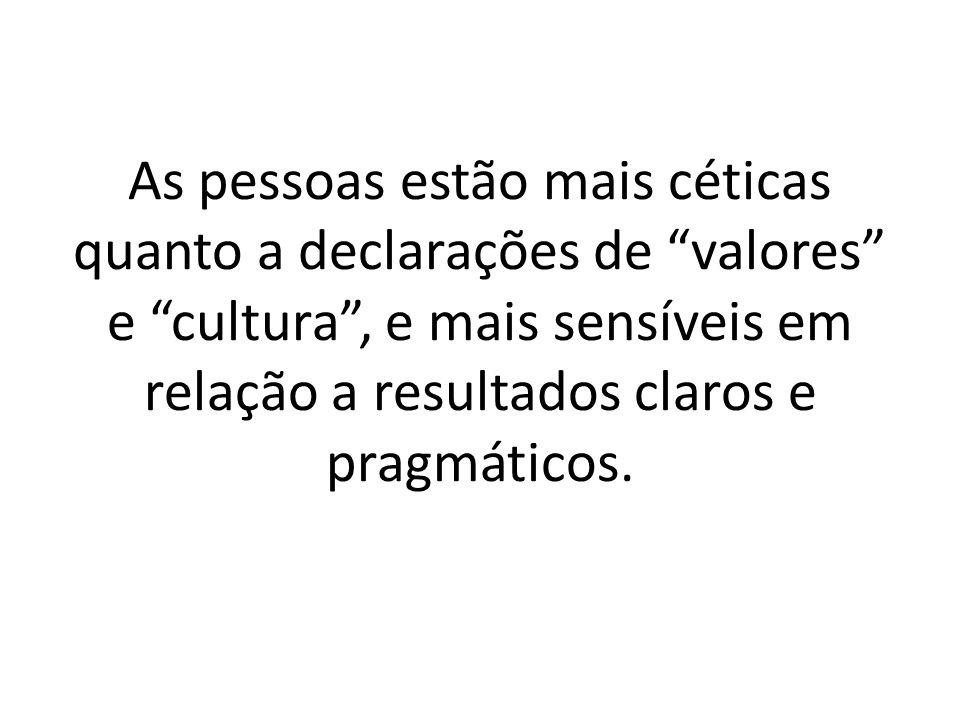 As pessoas estão mais céticas quanto a declarações de valores e cultura , e mais sensíveis em relação a resultados claros e pragmáticos.