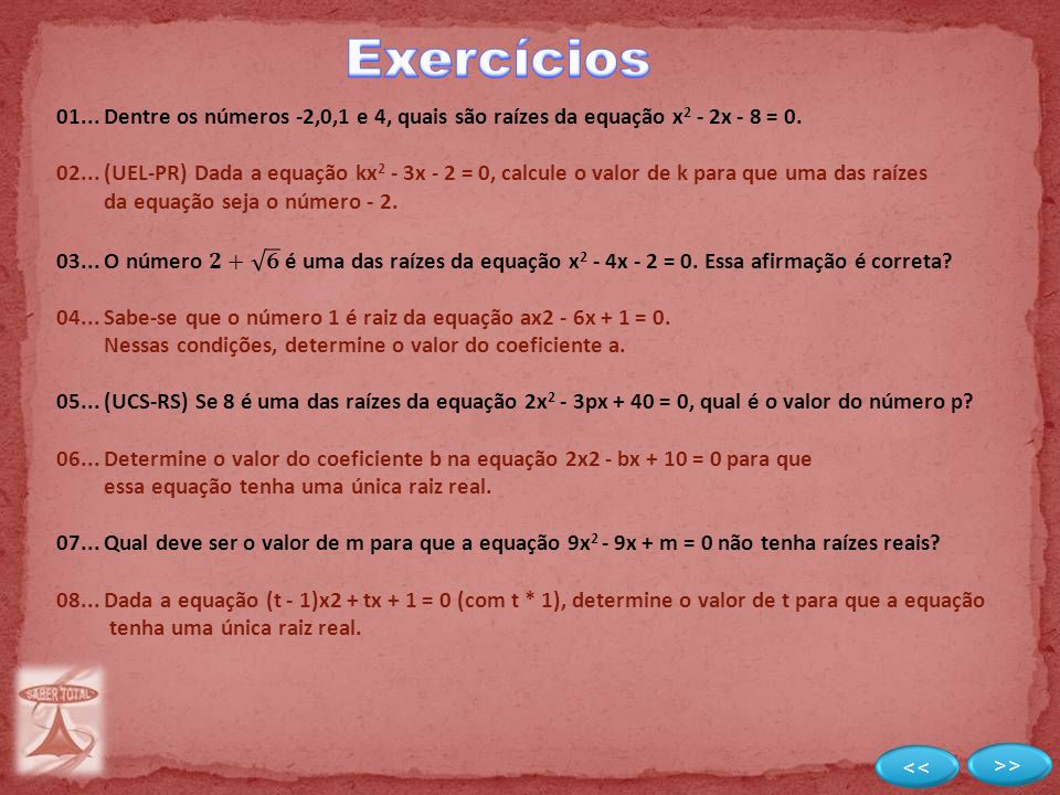 Exercícios << >>