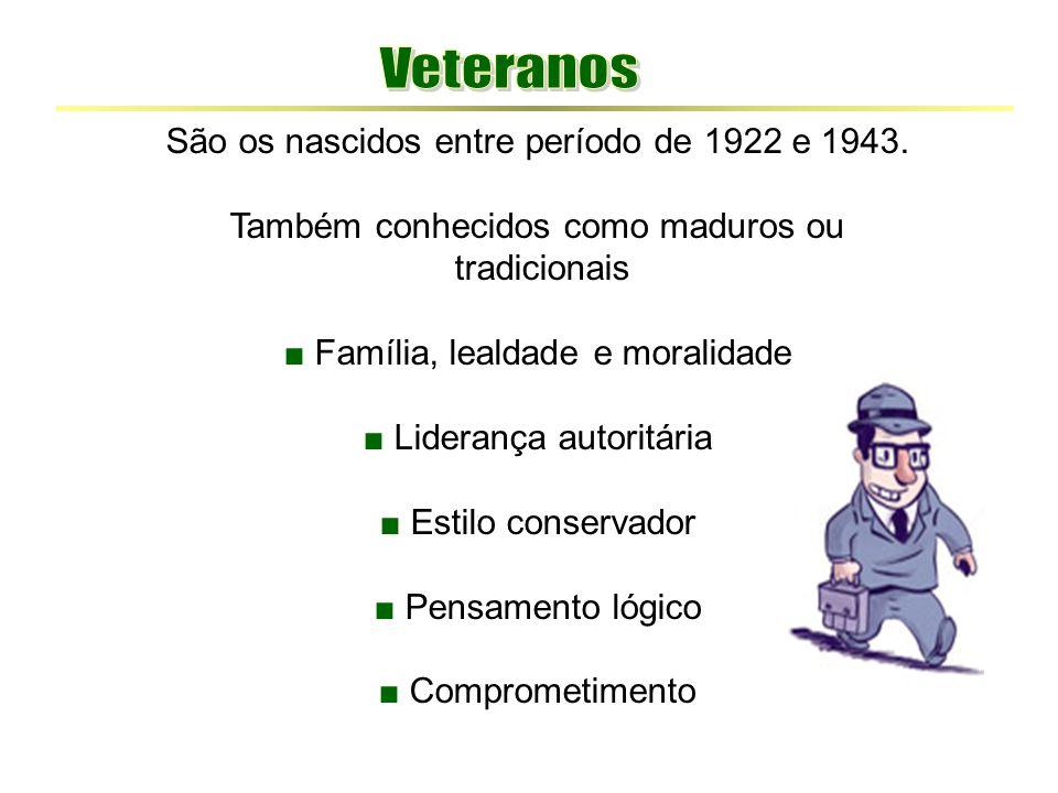 Veteranos São os nascidos entre período de 1922 e 1943.