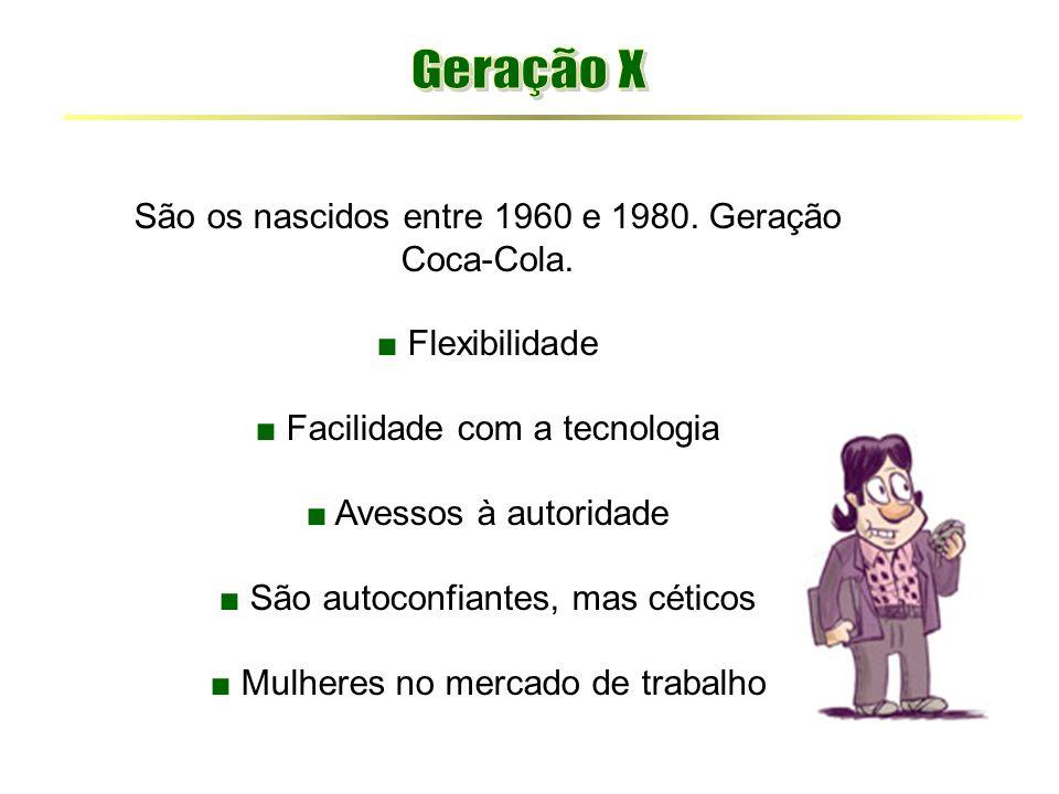 Geração X São os nascidos entre 1960 e 1980. Geração Coca-Cola.